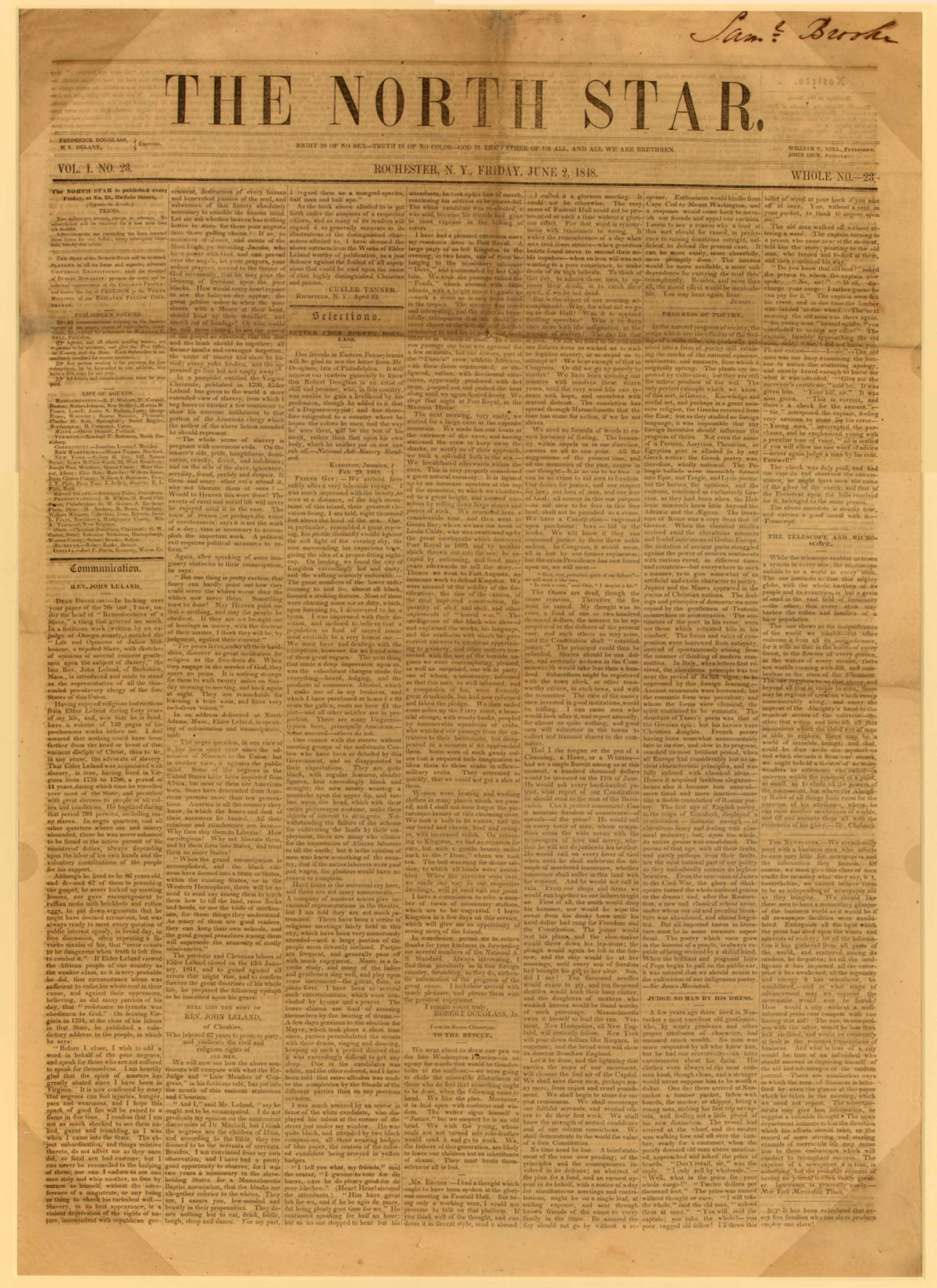 <p>Front page of <em>The North Star</em>, June 2, 1848</p>